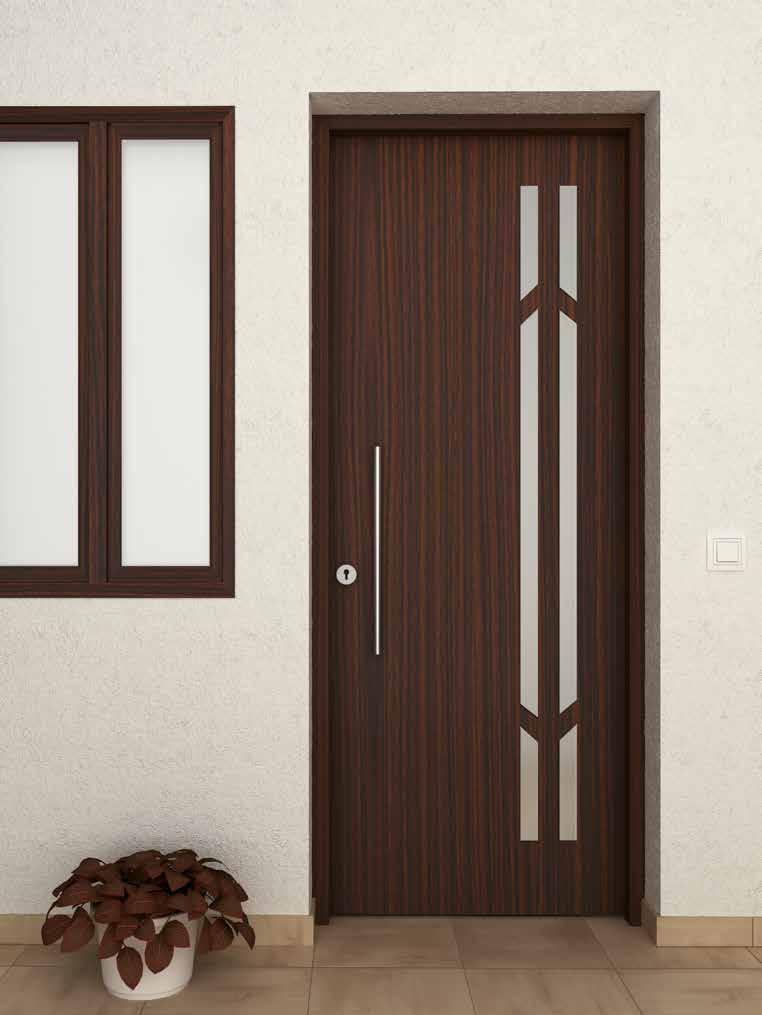 Puerta aluminio imitación madera Ubrique